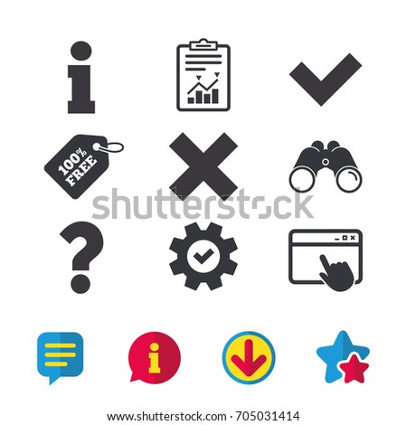 Information icons. Delete and question FAQ mark signs. Approved check mark symbol. Browser window, Report and Service signs. Binoculars, Information and Download icons. Stars and Chat. Vector