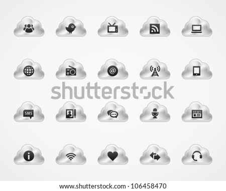 Information icons on metallic cloud buttons