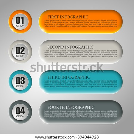Information infographic statistic vector presentation. Graphic composition for your business presentations. Four glossy button for your annotations. Four color sticker for registration of proposals - stock vector