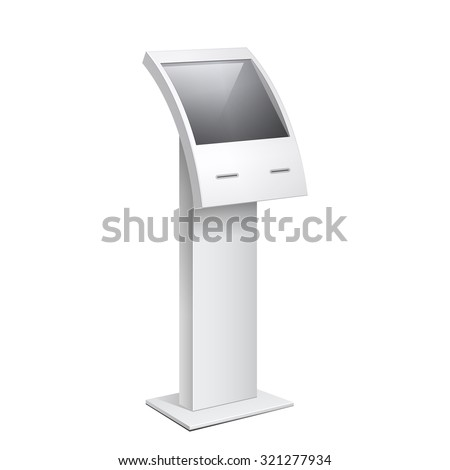 Information Kiosk, POS POI Terminal Stand on the white background. Mock Up Template. Vector illustration. - stock vector