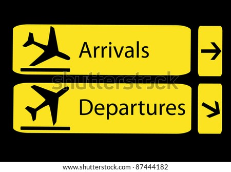 information panel on the direction of arrivals and departures at airports - stock vector