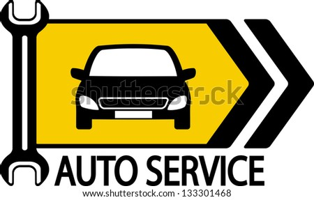 information road sign with modern car, wrench and arrow - stock vector