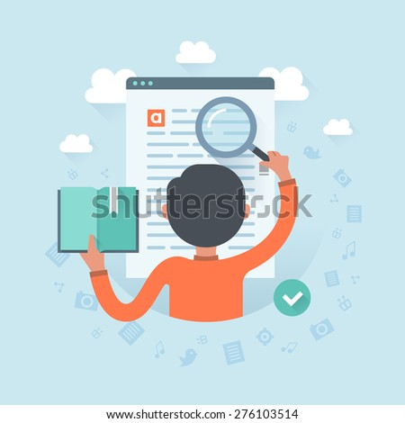 Information search. Man with magnifying glass looking for required information on a website page. User experience, communication and SEO concept - stock vector
