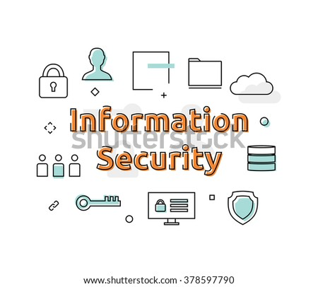 Information Security Concept Icon Vector Background Illustration - stock vector