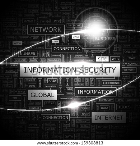 INFORMATION SECURITY. Concept vector illustration. Word cloud with related tags and terms. Graphic tag collection. Wordcloud collage.