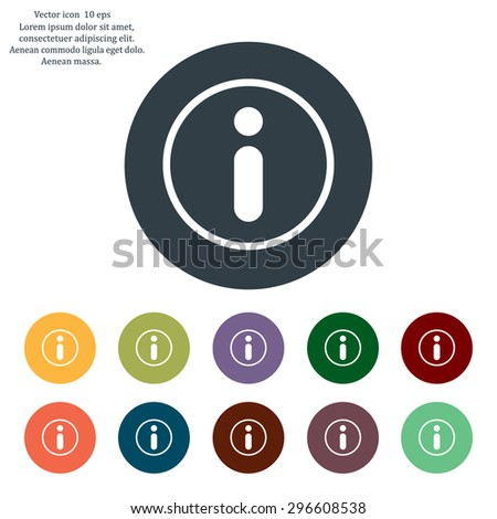Information sign icon, vector illustration. Flat design style - stock vector