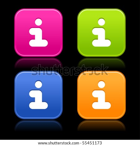Information sign on web 2.0 internet buttons. Colorful satined rounded shapes with reflection on black background - stock vector