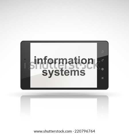 information systems words on mobile phone isolated on white - stock vector
