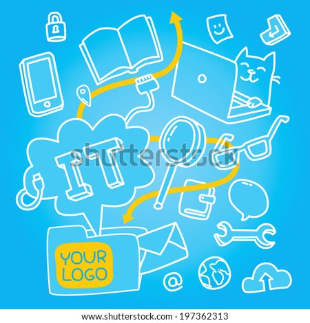 Information technologies pattern about programmer's life and teamwork. Modern vector illustration on blue background