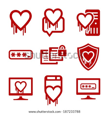 Information Technology Security Icons Heartbleed Software