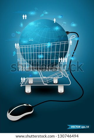 Information technology with Shopping cart, Global network social media concept, Vector illustration modern template design - stock vector