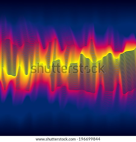 Infrared heat wave background with blended lines - stock vector