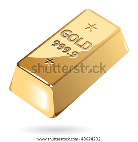 Ingot of gold. Vector illustration. - stock vector
