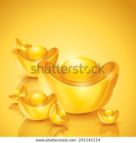 Chinese Gold Ingot Vector Chinese Gold Stock Vector