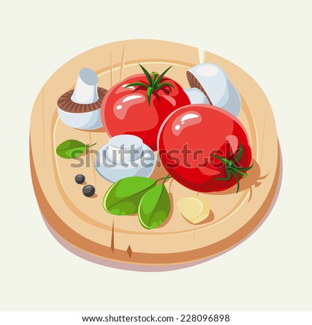 Ingredients Italian cuisine. The food on the cutting board. Vector illustration. - stock vector