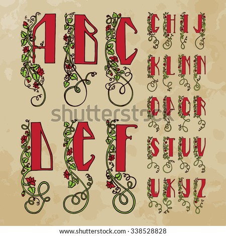 Initial alphabet (uppercase) Slavic style with floral motifs. Texture aged paper background. The image can be used to print books, bulet, with design exhibitions - stock vector