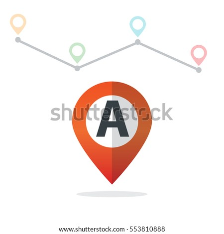 Initial Letter A With Pin Location Logo on Maps