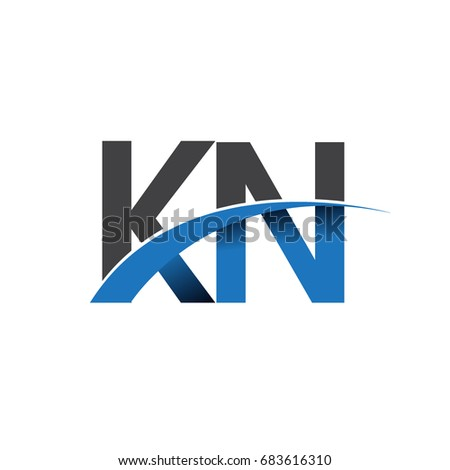 initial letter KN logotype company name colored blue and grey swoosh design. vector logo for business and company identity.