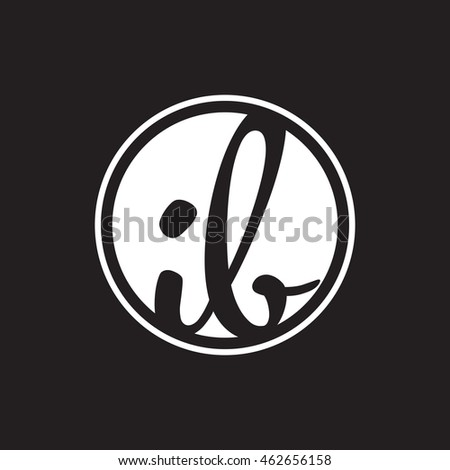 initial letter logo circle with ring white