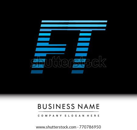Stock Vector Initial Letter Logo Ft Colored Blue With Striped Compotition Design Template Elements Monogram