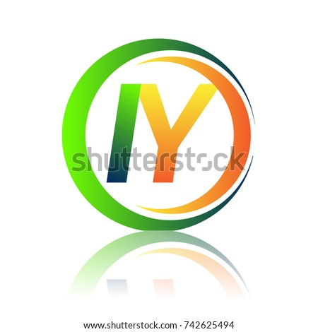 Initial Letter Logo IY Company Name Green And Orange Color On Circle Swoosh Design