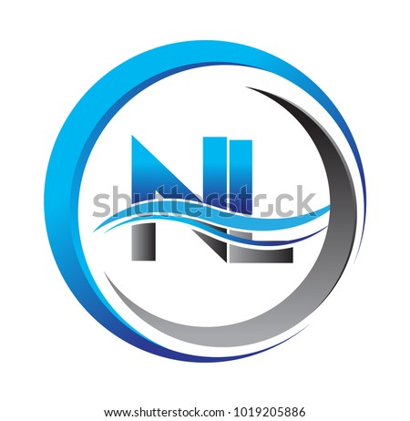 Initial Letter Logo Nl Company Name Stock Vector 2018 1019205886