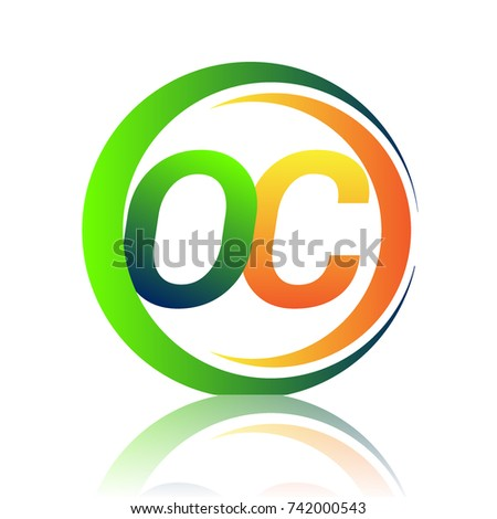 Initial Letter Logo OC Company Name Green And Orange Color On Circle Swoosh Design