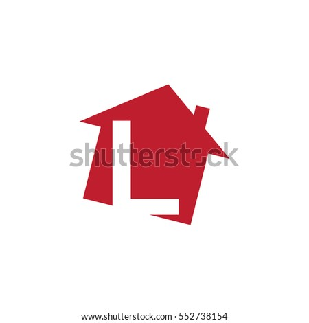 initial letter logo red house