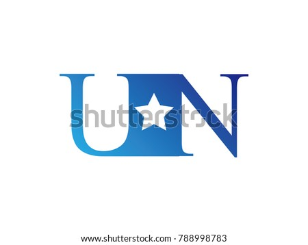 Letter vn stock images royalty free images vectors shutterstock initial letter logo un uppercase blue template with star spiritdancerdesigns Choice Image