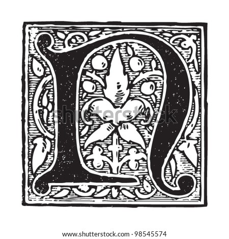 Initial - letter N / vintage illustrations from Die Frau als Hausarztin 1911 - stock vector