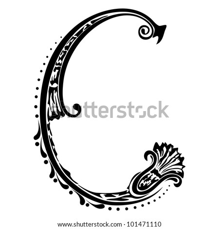 Initial letter retro C on a white background. t-shirt design - stock vector