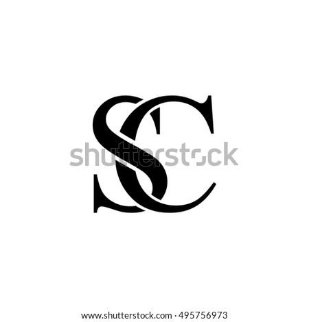 Initial Letter SC Logo Design Black Stock Vector 495756973 ...