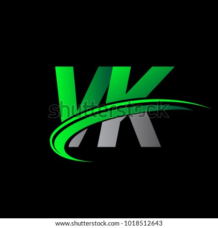 Initial Letter VK Logotype Company Name Colored Green And Black Swoosh Design Vector Logo For