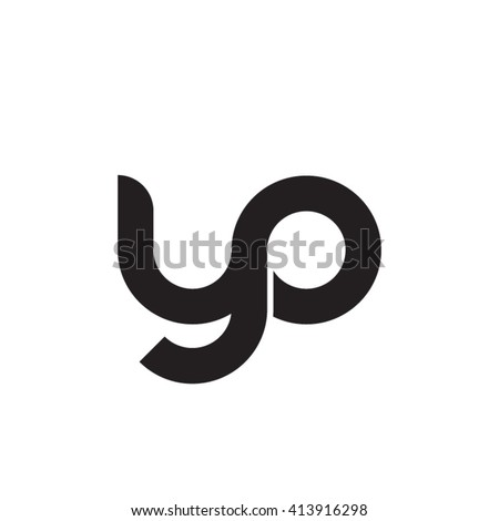 initial letter yo linked round lowercase monogram logo black - stock vector