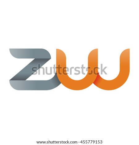 initial letter zw modern linked circle round lowercase logo orange gray