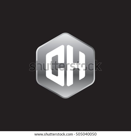 Initial letters CH rounded hexagon shape silver modern logo