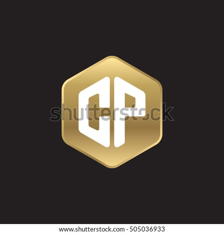 Initial letters CP rounded hexagon shape gold modern logo