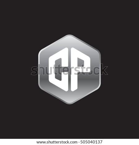 Initial letters CP rounded hexagon shape silver modern logo