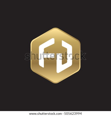 Initial letters FJ rounded hexagon shape gold modern logo