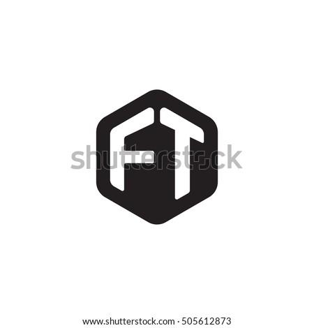 Stock Vector Initial Letters Ft Rounded Hexagon Shape Monogram Black Simple Modern Logo