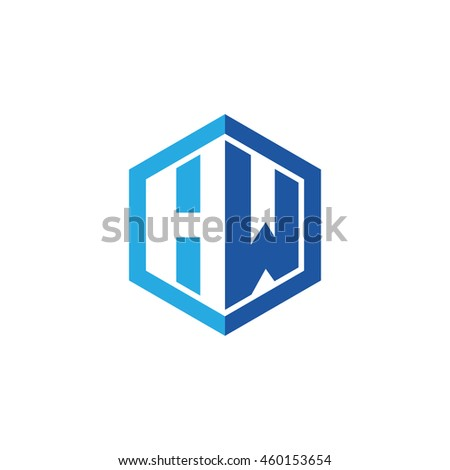 Initial letters HW negative space hexagon shape logo blue