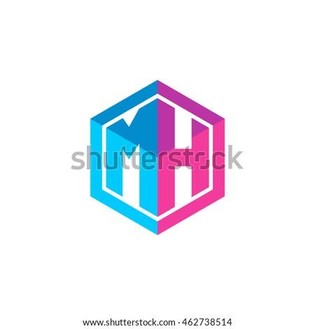 Stock Vector Initial Letters Mh Hexagon Box Shape Logo Blue Pink Purple Monogram Letter