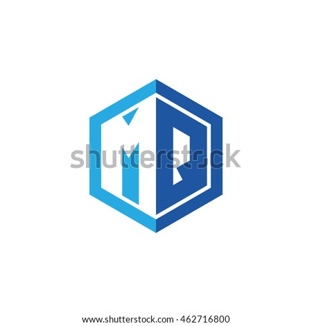 Initial letters MQ negative space hexagon shape logo blue