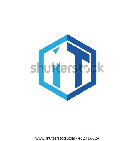 Initial letters MT negative space hexagon shape logo blue