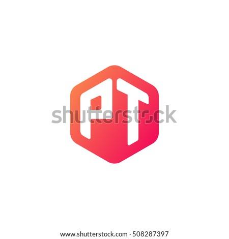 Stock Vector Initial Letters Pt Rounded Hexagon Shape Red Orange Simple Modern Logo Monogram Ft