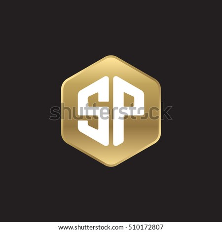 Initial letters SP rounded hexagon shape gold modern logo