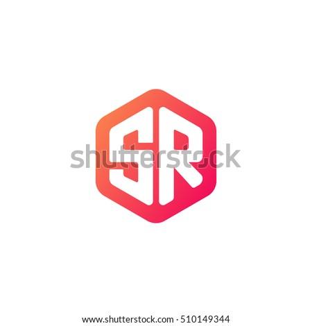 Stock Vector Initial Letters Sr Rounded Hexagon Shape Red Orange Simple Modern Logo Monogram Ft