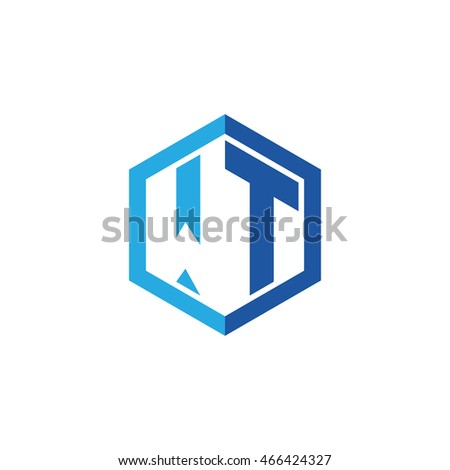 Initial letters WT negative space hexagon shape logo blue