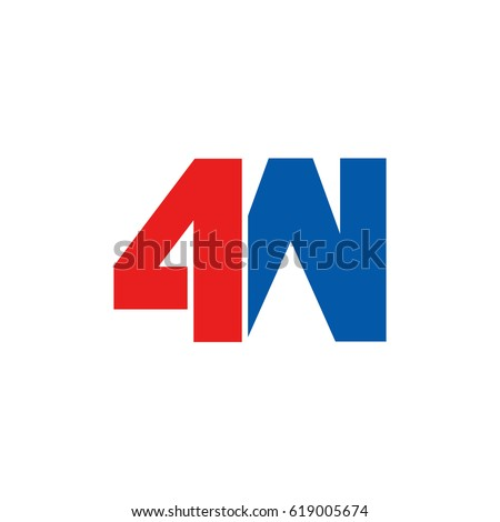 Initial logo, combining letter and number, W and 4, red blue