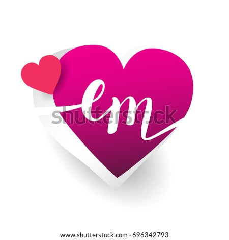 initial logo letter EM with heart shape red colored, logo design for wedding invitation, wedding name and business name.